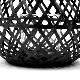 Compactor lantaarn 25 cm bamboe/glas zwart_