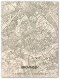 BRANDTHOUT Citymap Groningen  houten wanddecoratie verschillende afmetingen   Naturel _