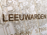 BRANDTHOUT Citymap Leeuwarden| houten wanddecoratie verschillende afmetingen | Naturel _