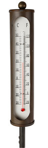 Gifts Amsterdam tuinprikker thermometer metaal mat brons
