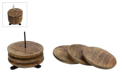 Onderzetters Mango 10 cm hout/staal naturel/zwart 7-delig