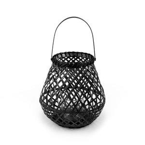 Compactor lantaarn 25 cm bamboe/glas zwart