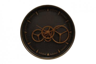 Gifts Amsterdam klok Paul 36 x 6,5 cm staal brons/zwart