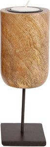 Gifts Amsterdam waxinelichthouder mango hout 18 cm bruin