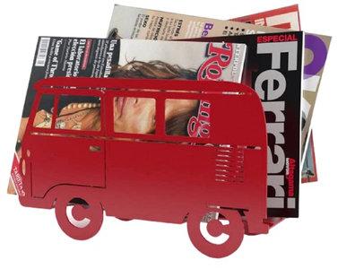 Balvi tijdschriftenrek Busje 24 x 40 cm staal rood