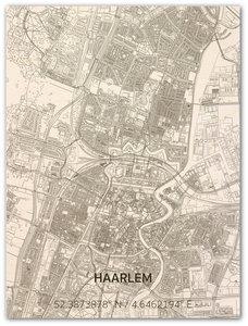 BRANDTHOUT Citymap Haarlem| houten wanddecoratie verschillende afmetingen | Naturel