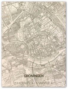 BRANDTHOUT Citymap Groningen  houten wanddecoratie verschillende afmetingen   Naturel