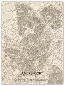 BRANDTHOUT Citymap Amersfoort| houten wanddecoratie verschillende afmetingen | Naturel