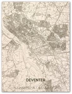 BRANDTHOUT Citymap Deventer| houten wanddecoratie verschillende afmetingen | Naturel