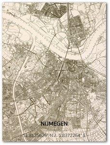 BRANDTHOUT Citymap Nijmegen  houten wanddecoratie verschillende afmetingen   Naturel