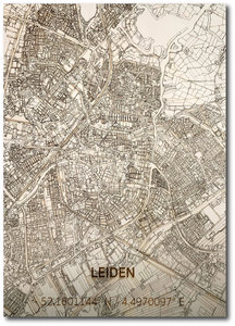 BRANDTHOUT Citymap Leiden  houten wanddecoratie verschillende afmetingen   Naturel