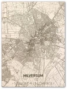 BRANDTHOUT Citymap Hilversum| houten wanddecoratie verschillende afmetingen | Naturel