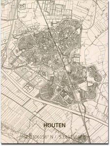 BRANDTHOUT Citymap Houten| houten wanddecoratie verschillende afmetingen | Naturel