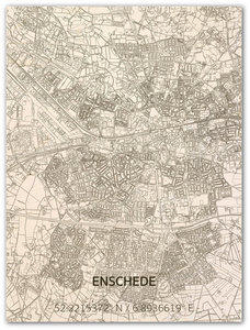 BRANDTHOUT Citymap Enschede  houten wanddecoratie verschillende afmetingen   Naturel