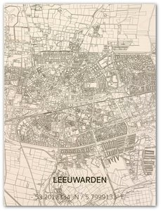 BRANDTHOUT Citymap Leeuwarden| houten wanddecoratie verschillende afmetingen | Naturel