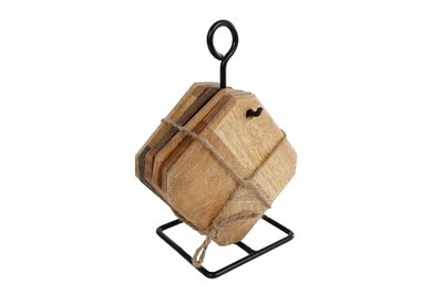 Gifts Amsterdam onderzetters met standaard karin | mangohout | 10x10x19cm