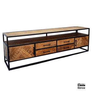 Jax TV meubel 2 deuren 4 lades  Visgraat Mangohout en Staal   200*60*45