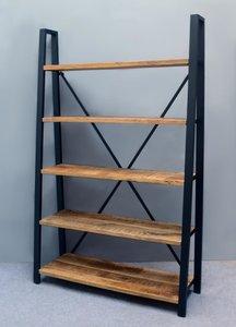 Boekenkast 5 planken| Mangohout & Staal | 200*55*40
