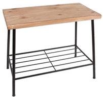Bijzettafel Derek 43 x 24 cm staal/hout zwart/naturel